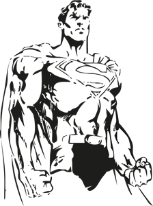 Vectorial drawing black and white. Superman logo vectors free