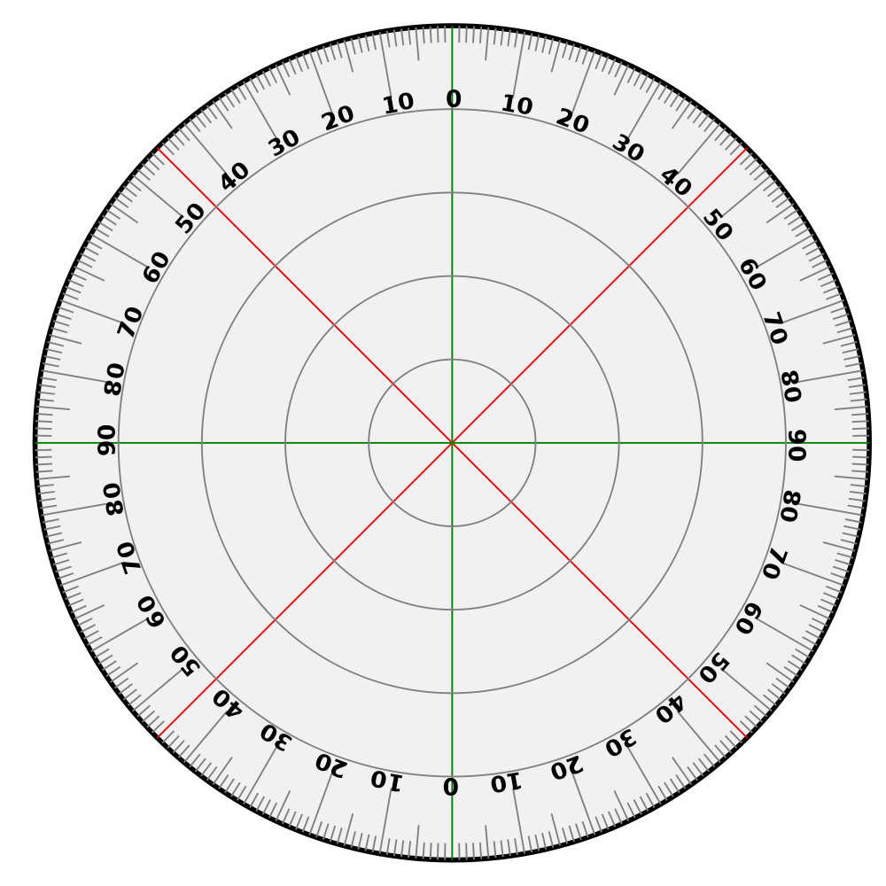 Protractor vector technical drawing. File svg wikimedia commons