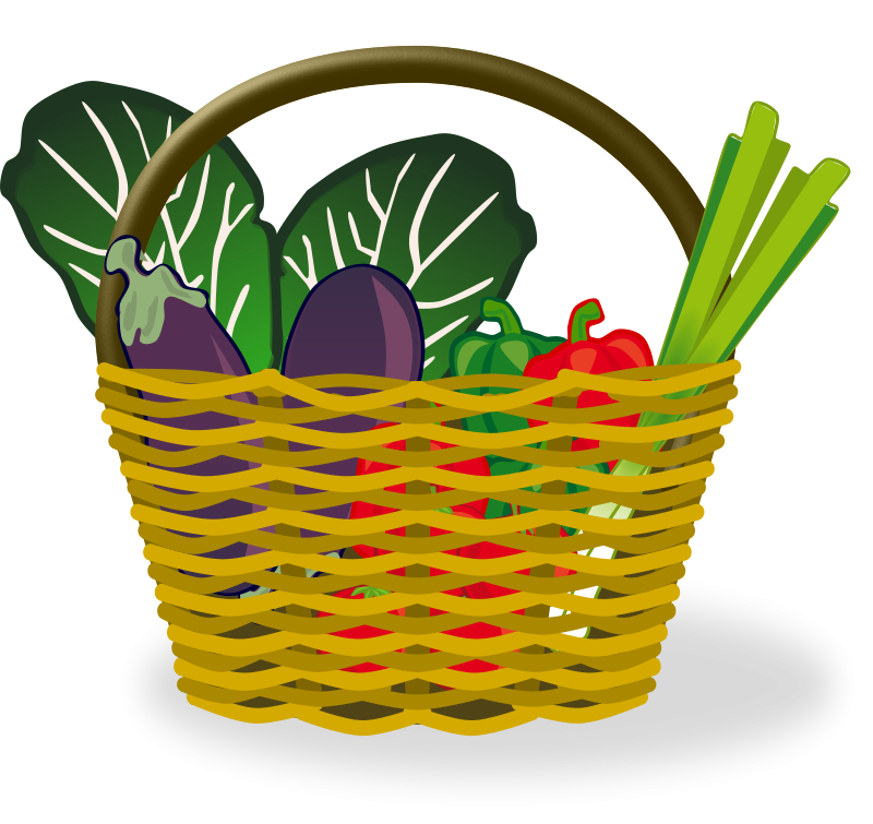 Vector vegetables fresh vegetable. Clipart basket of