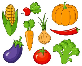 Veggies clipart common vegetable. Clip art set teaching