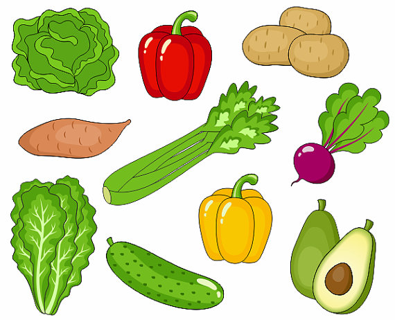 Veggies clipart common vegetable. Vegetables clip art cute