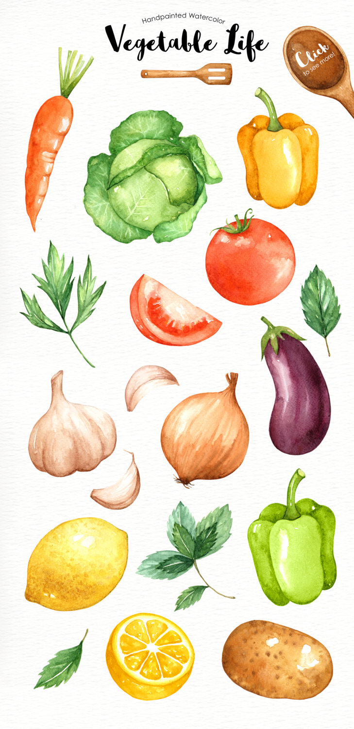 Veggies clipart organic vegetable. Vegetables life watercolor cliparts