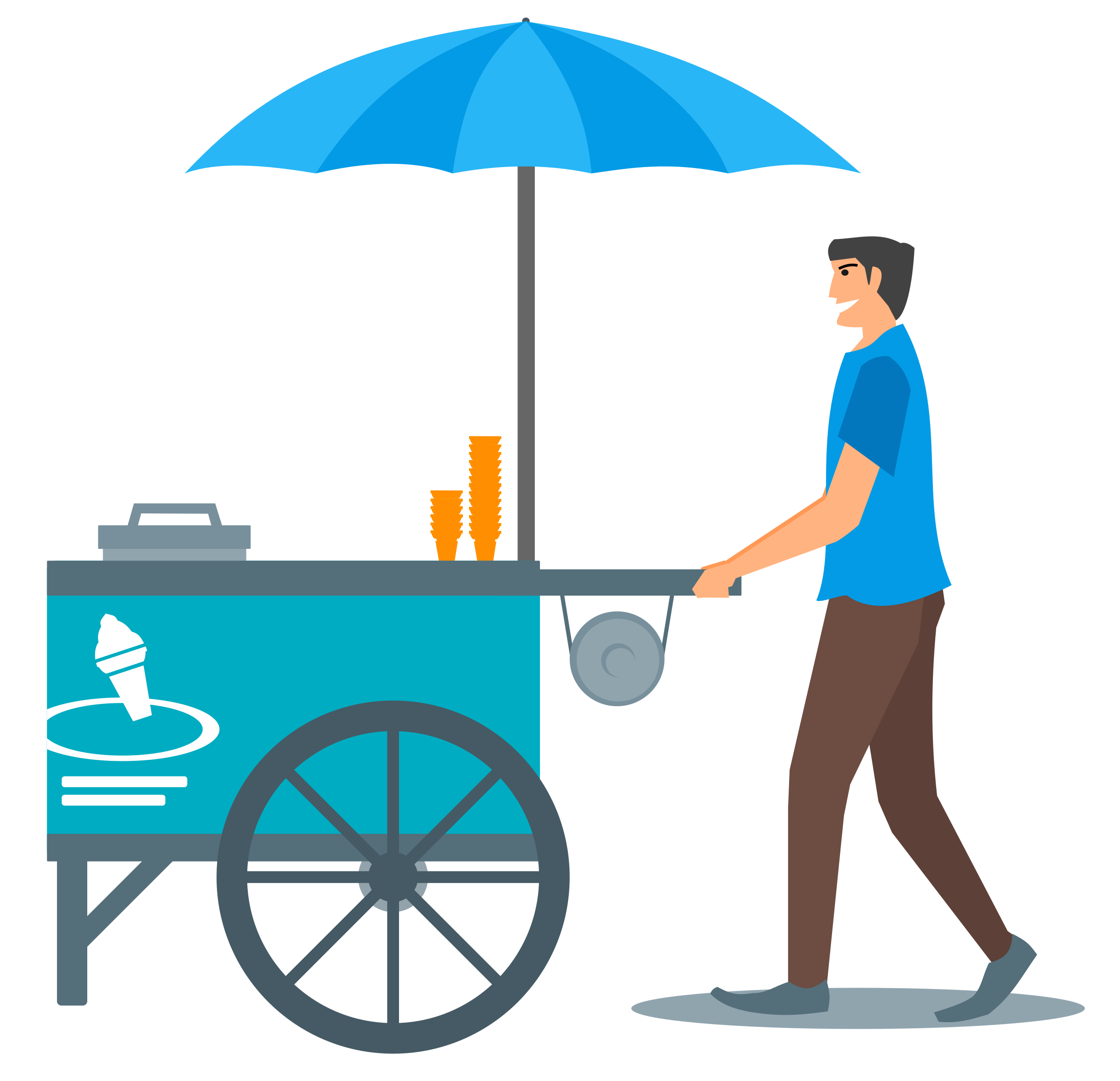Vehicle stand. Ice cream vector clipart