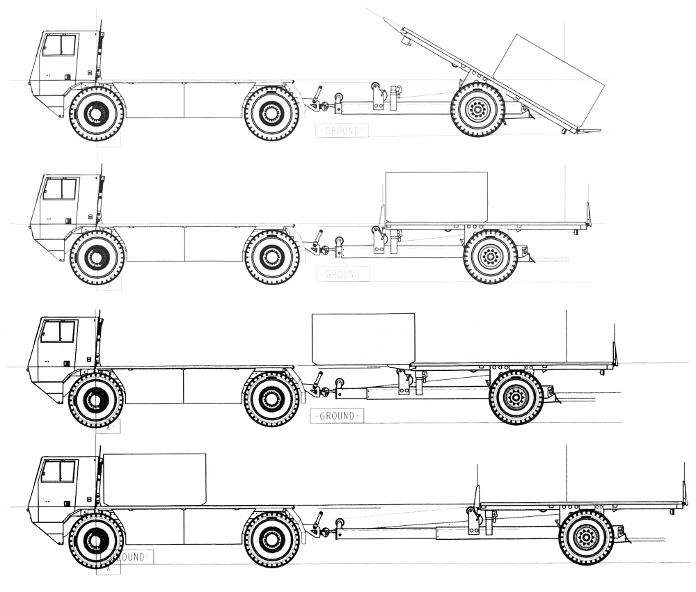 Drawing tractors trailer. Future cargo vehicle trailers