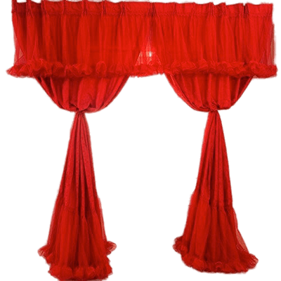 Stage transparent curtain open. Hands opening velvet curtains