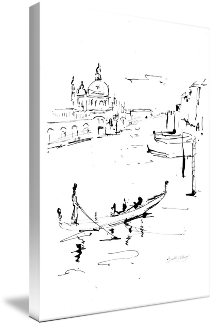 Venice drawing. Canale grande italy ink