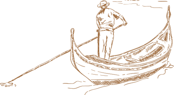 Venice drawing gondola. Site page corporate title