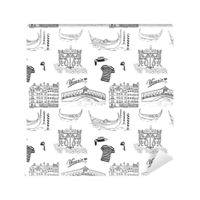 Venice drawing italy. Seamless pattern hand drawn