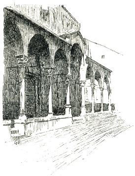 Venice drawing sketch. Churches of padua santantonio
