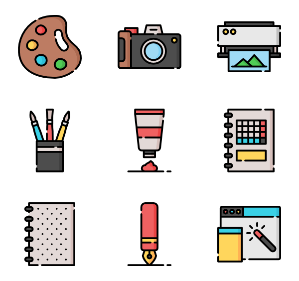 Vector tool color. Exhibition icons free art
