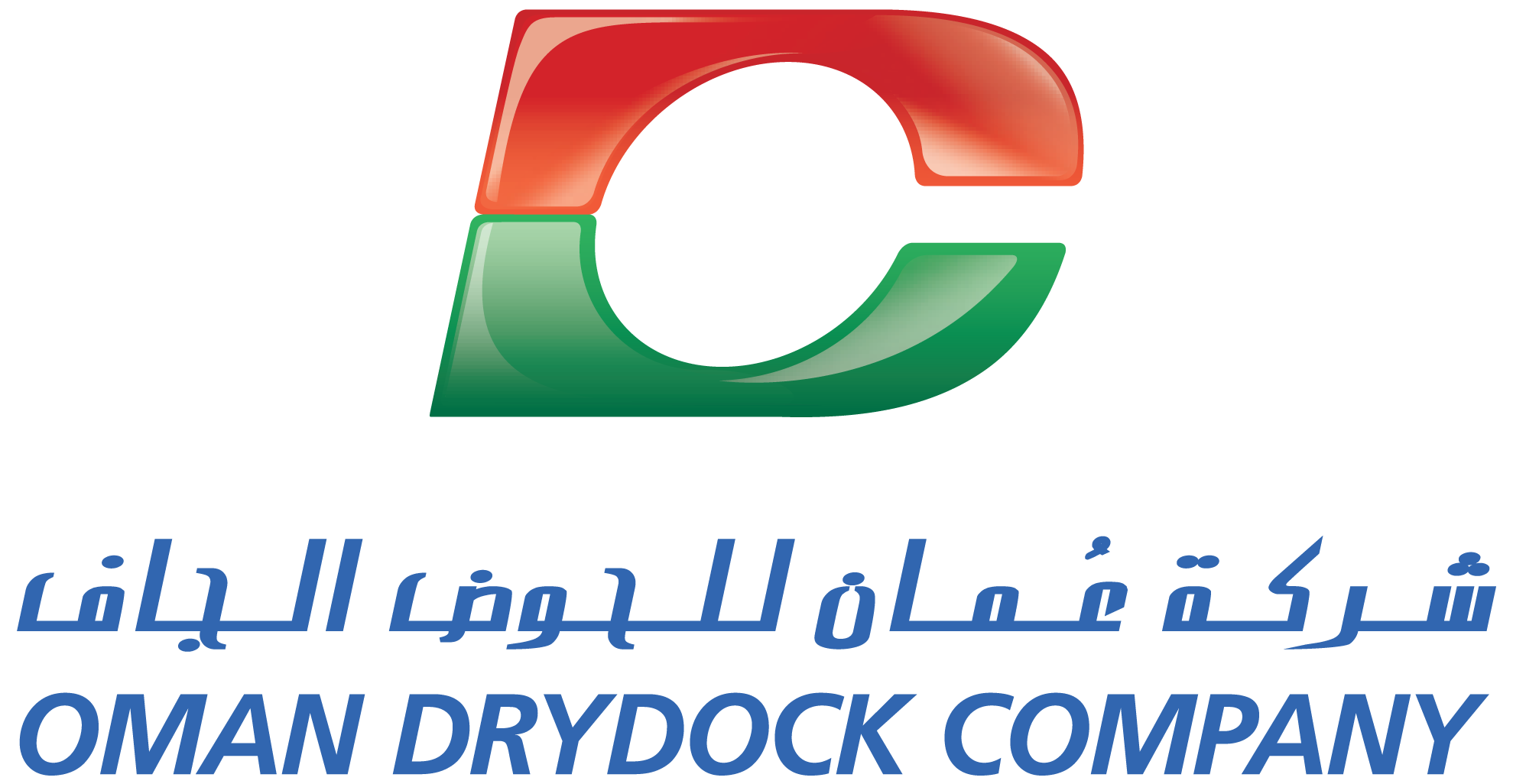 Vertical vector green corporate background. Oman drydock company odc
