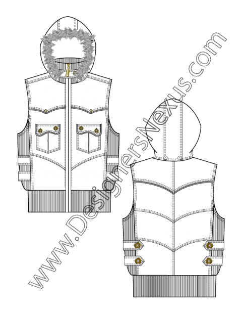 Tec drawing clipart. Hooded vest with fur
