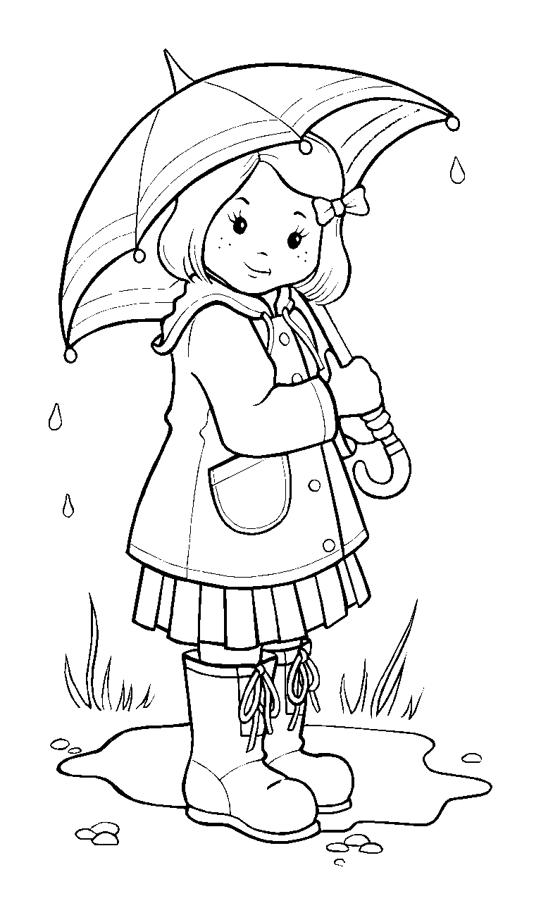 Vet drawing coloring page. Girl in rain open