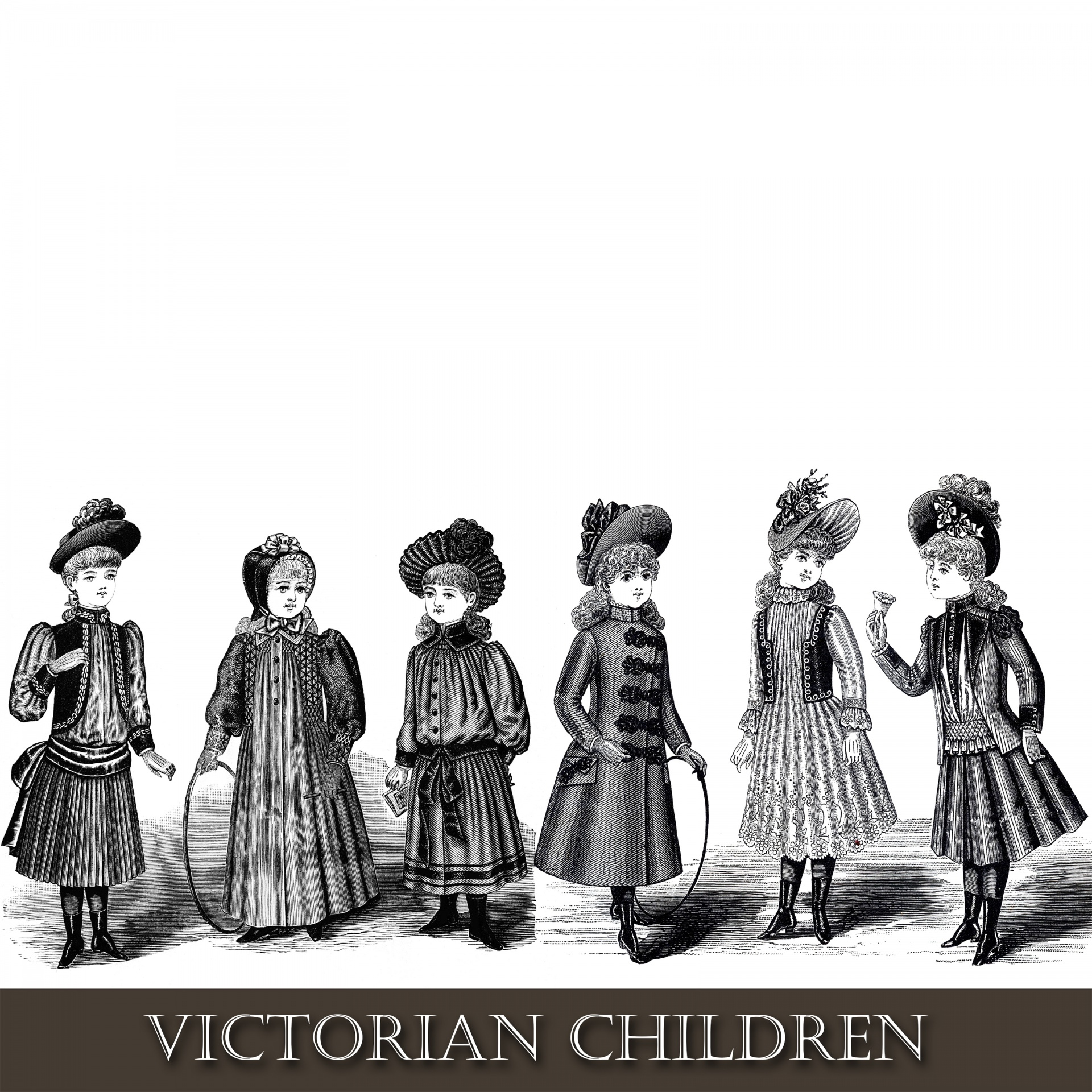Victorian clipart. Children free stock photo