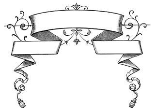 Victorian clipart banner. Vintage graphics ribbons banners