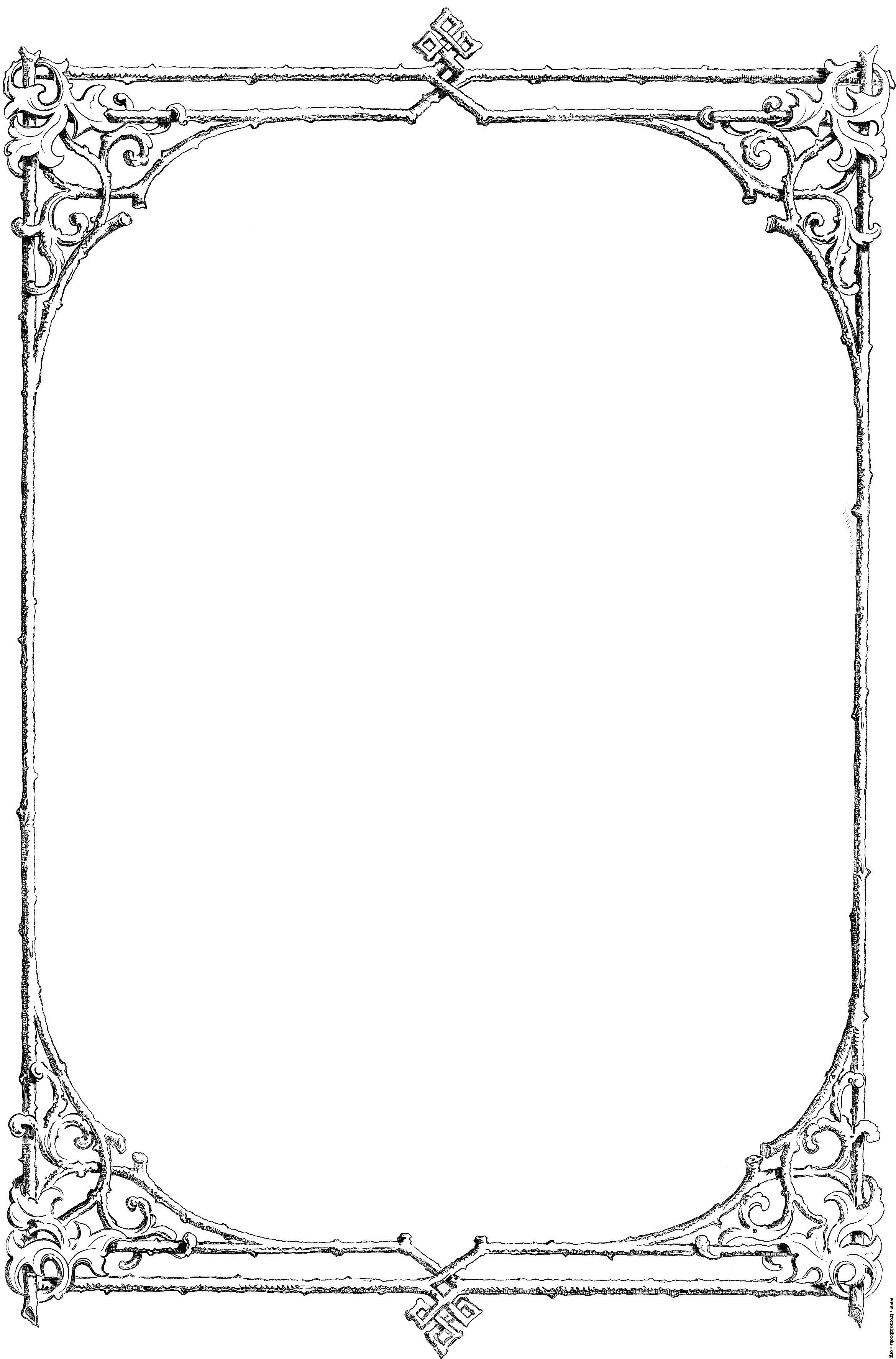 Victorian clipart banner. Free black and white