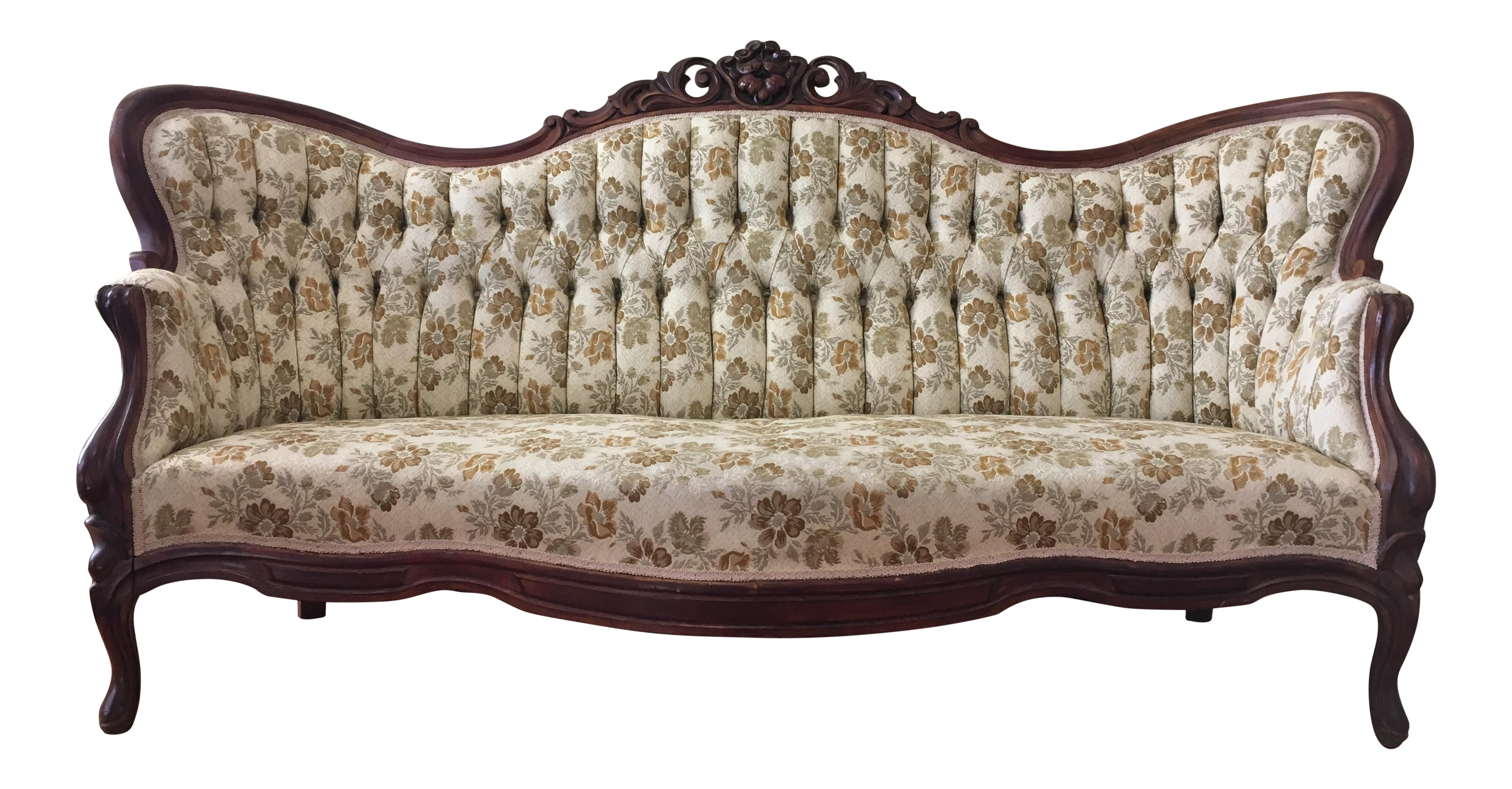 Victorian couch png. Antique camelback sofa chairish