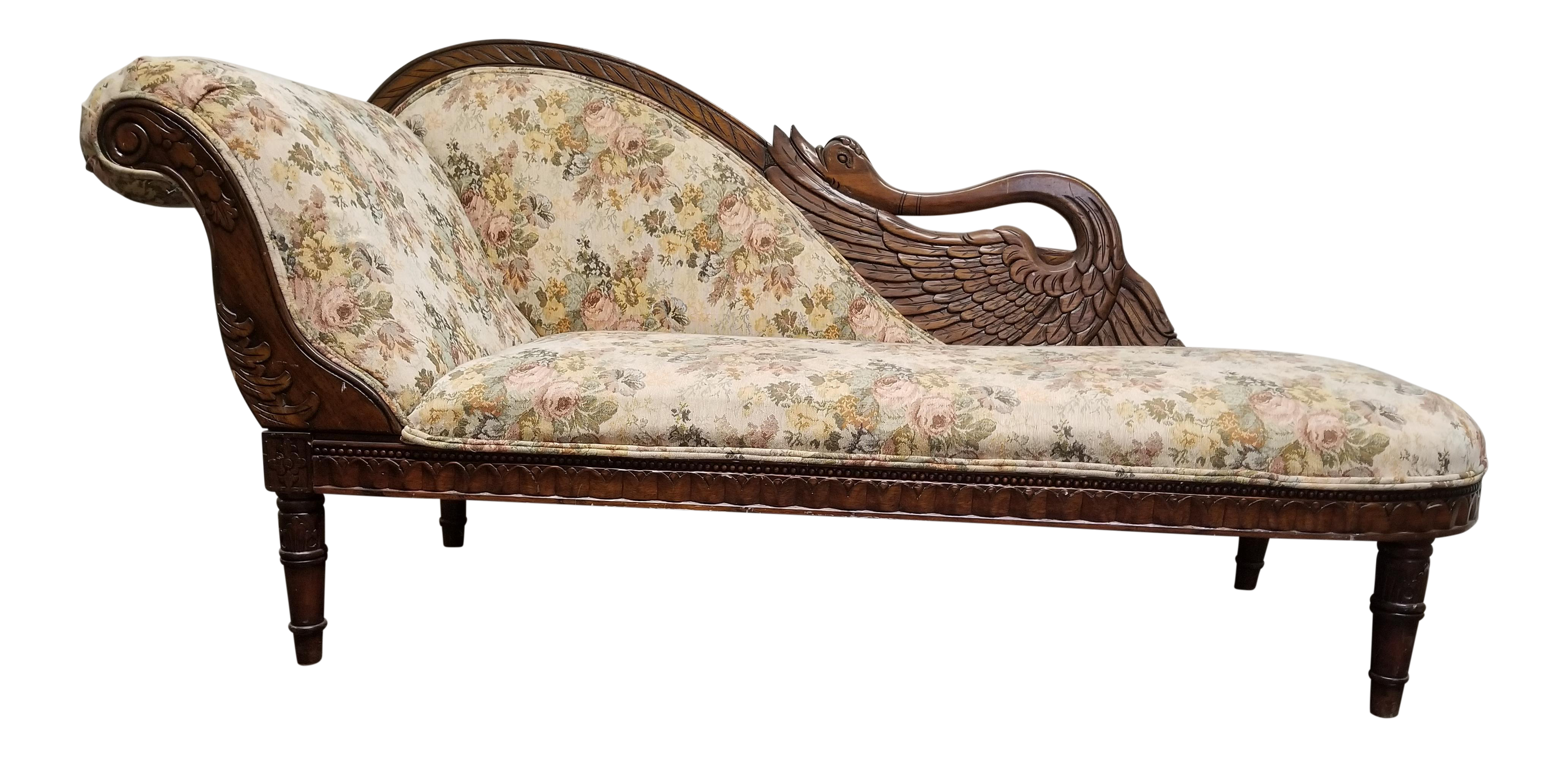 Victorian couch png. Antique floral swan chaise