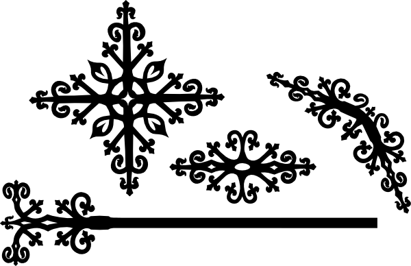 Decorative designs clip art. Victorian design png banner black and white stock