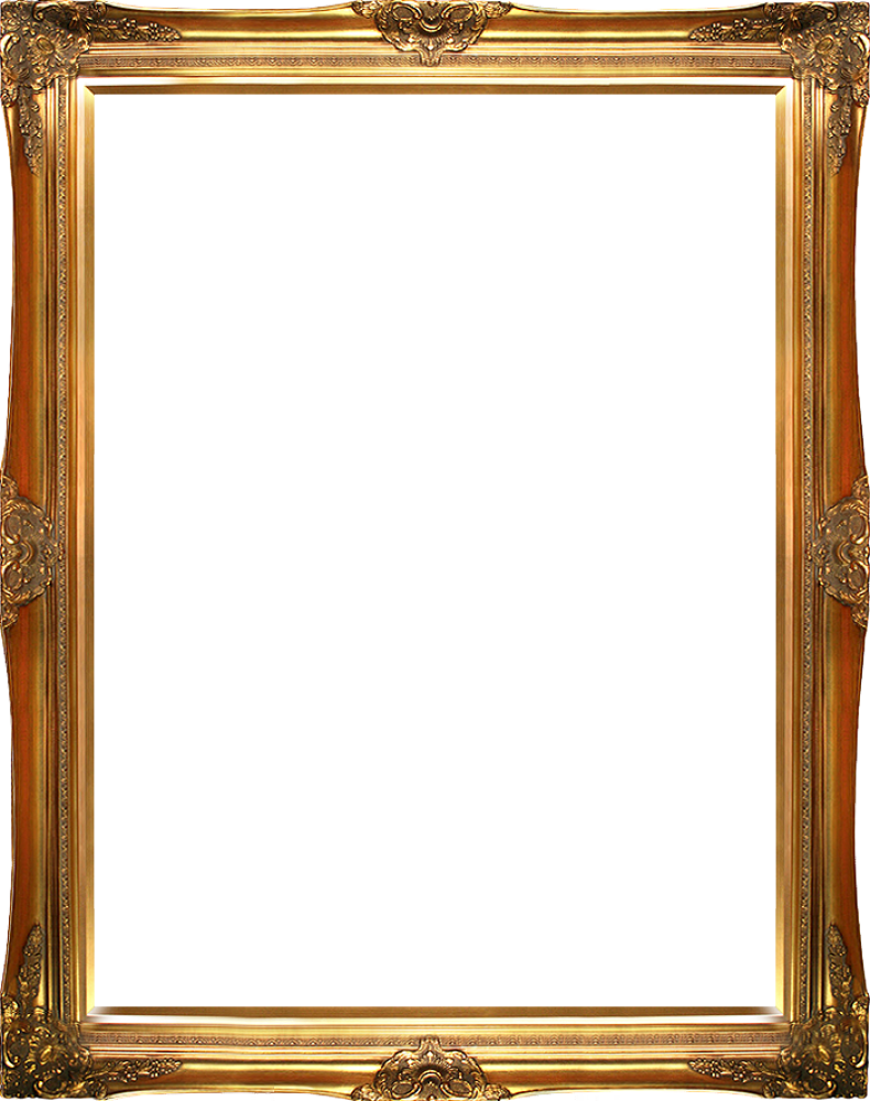 Victorian frame png. Gold canvas art reproduction
