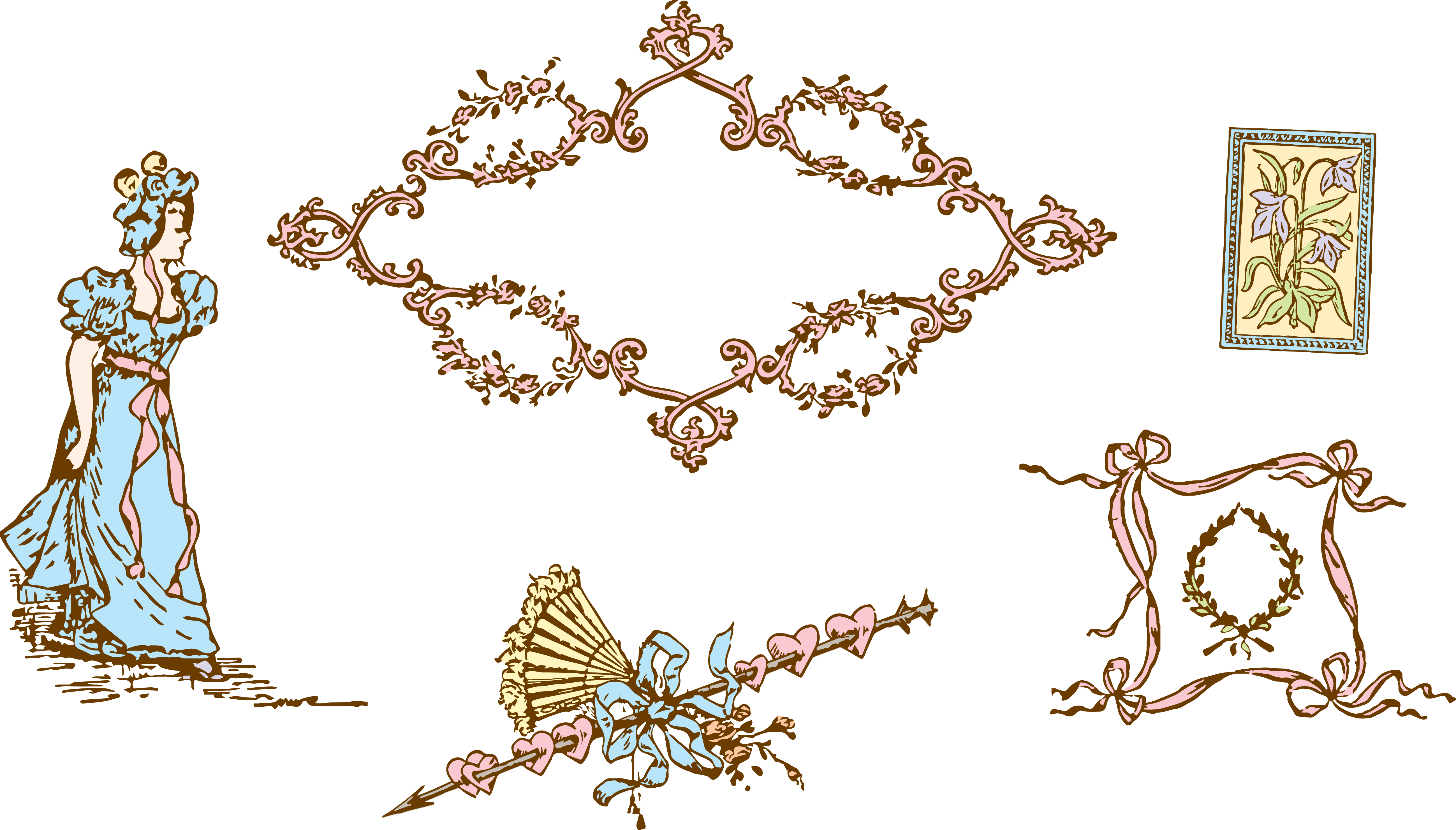 Victorian ornaments png. Free clipart romantic vintage