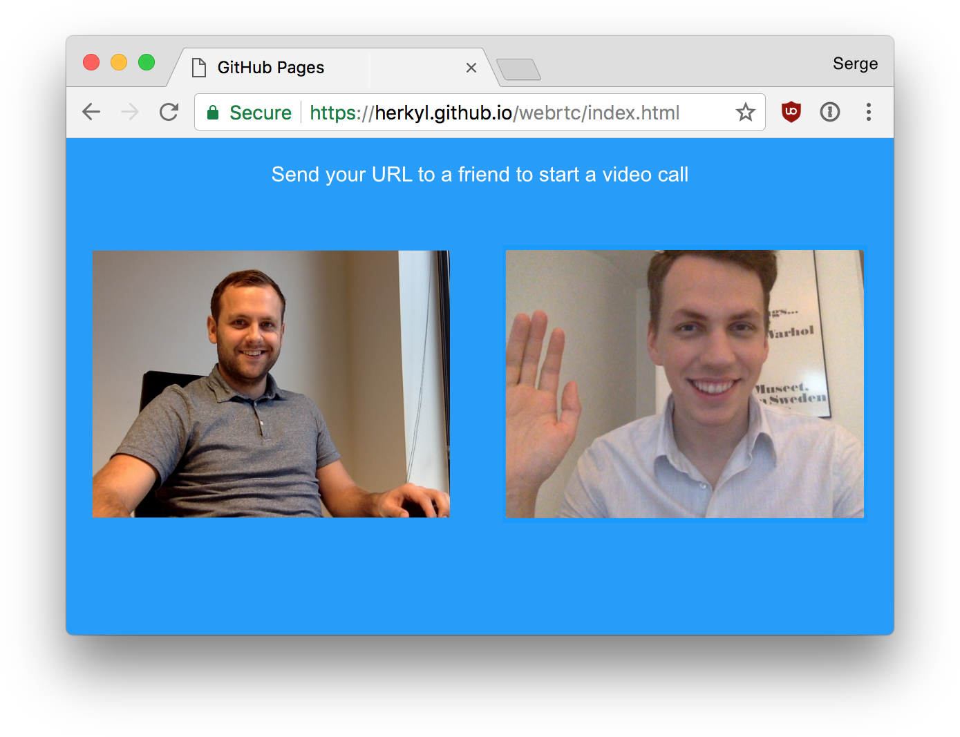 Video static png. Simple chatting with webrtc