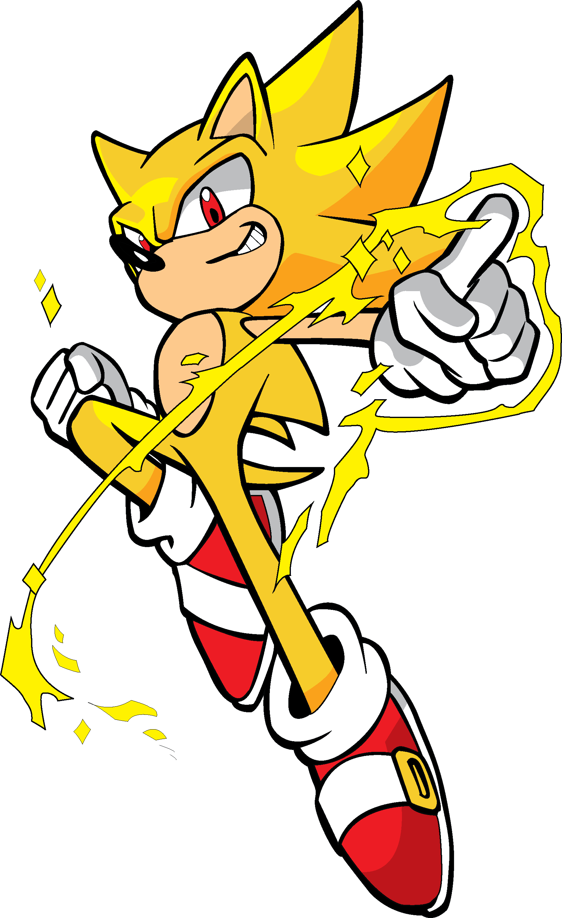Vignette drawing gambar. Image super sonic colored