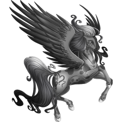 Vignette drawing pegasus. Image confusion png valley