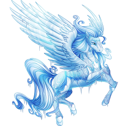Vignette drawing pegasus. Ice warrior valley of