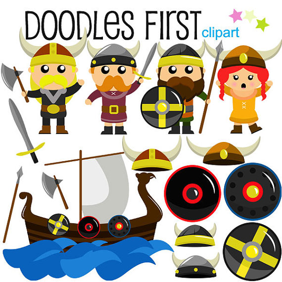 Viking clipart viking warrior. Vikings warriors digital clip