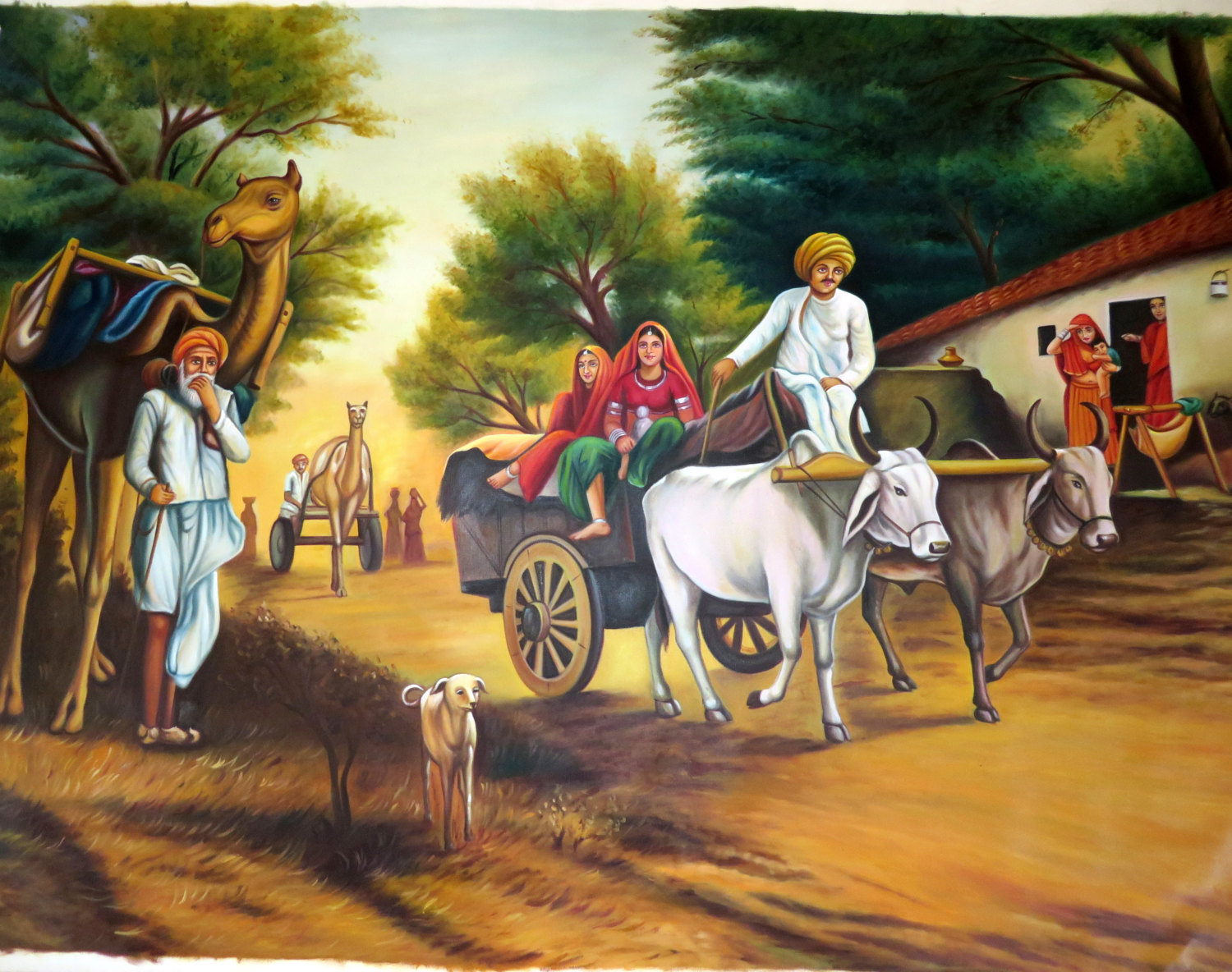 Village clipart canvas painting. Scenery pencil and in