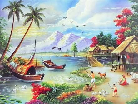 Village clipart canvas painting. The best images on