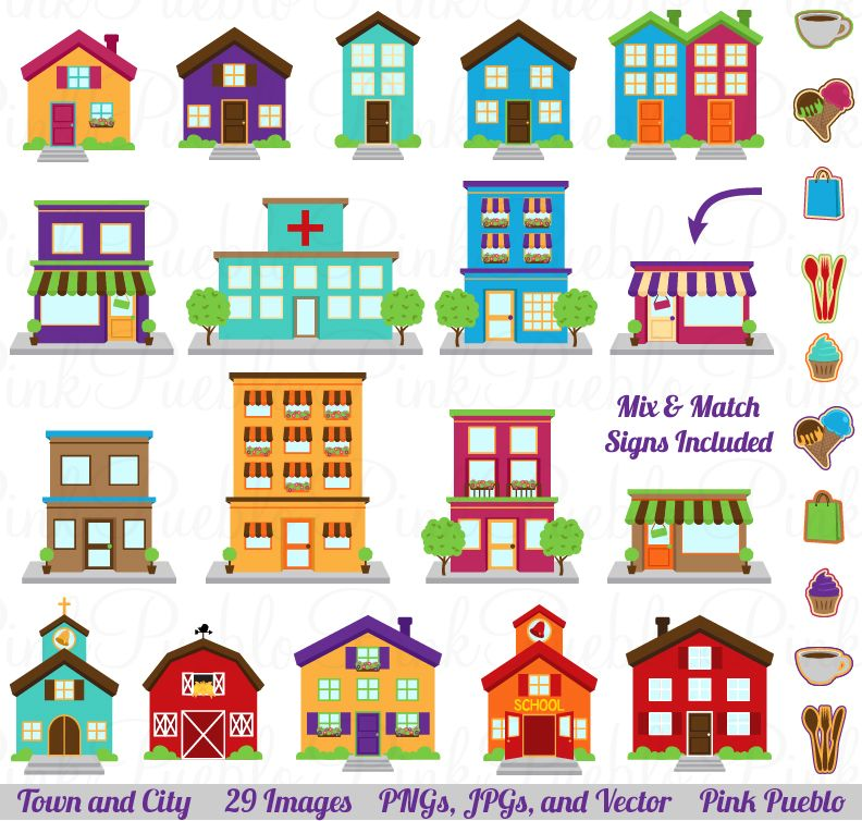 Village clipart twon. Town city vector by