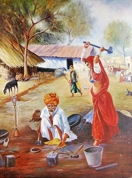 Village clipart village family. Ironsmith pinterest indian art