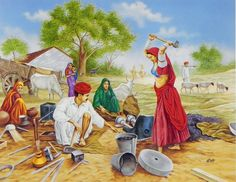 Village clipart village family. Indian villages life paintings