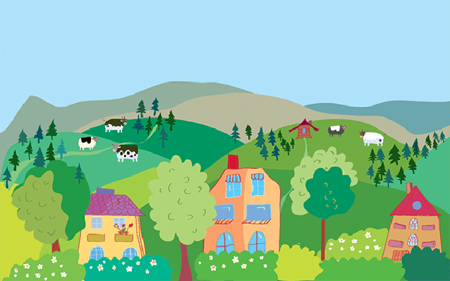 Village clipart village family. Landscape with mountain hills