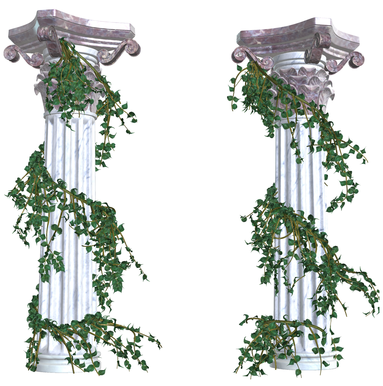 Beautiful columns with decorative. Vines png banner free library