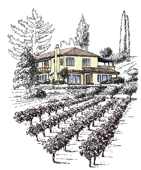 Vineyard drawing medieval town. Vindemia winery temecula ca