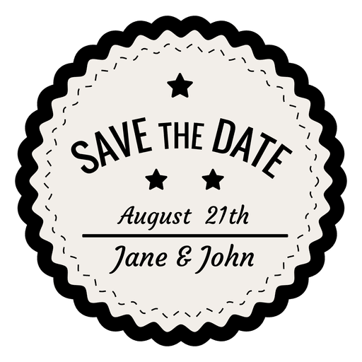 Vintage badge png. Save the date transparent