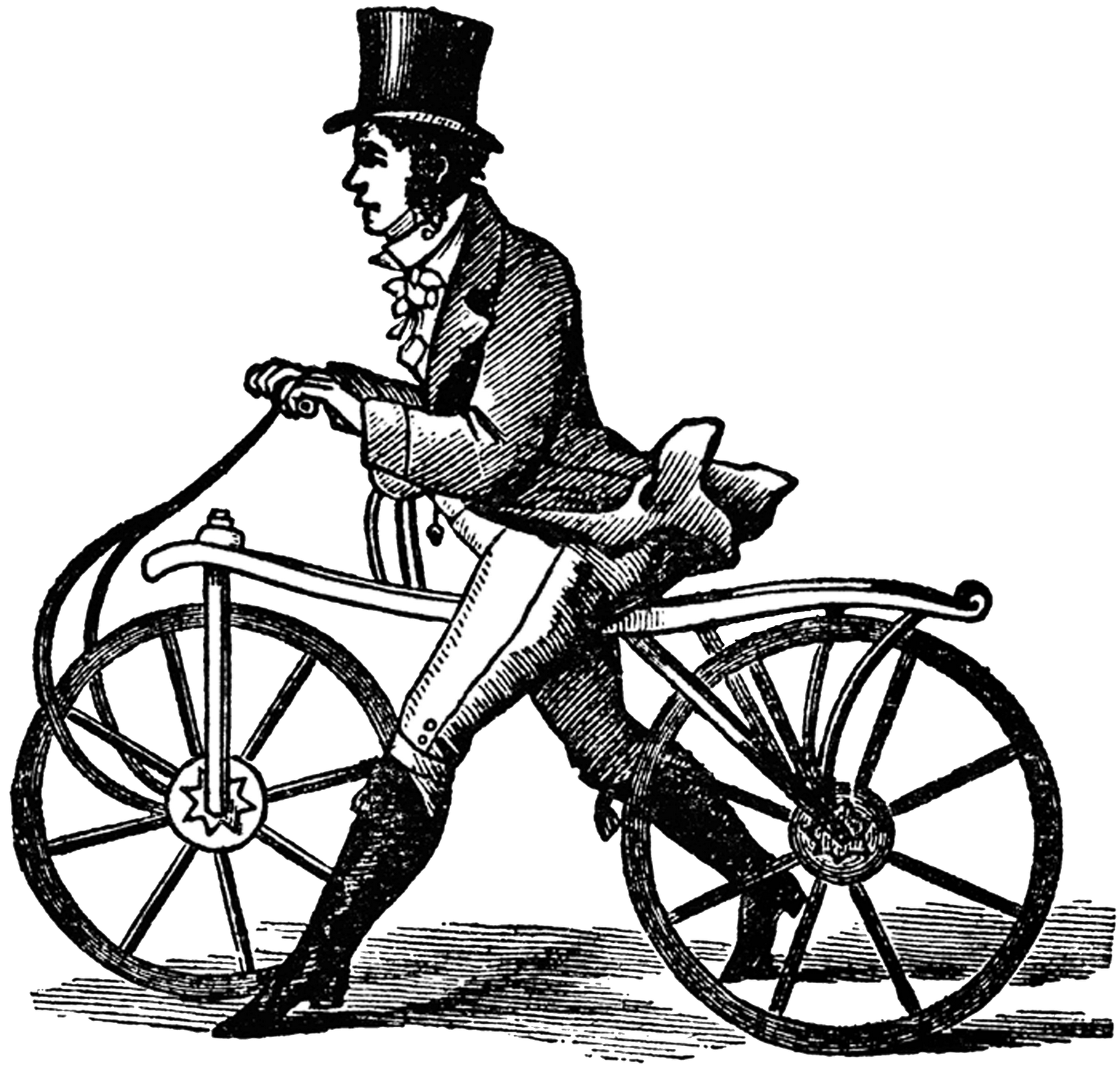 Vintage bicycle png. Very old transparent stickpng