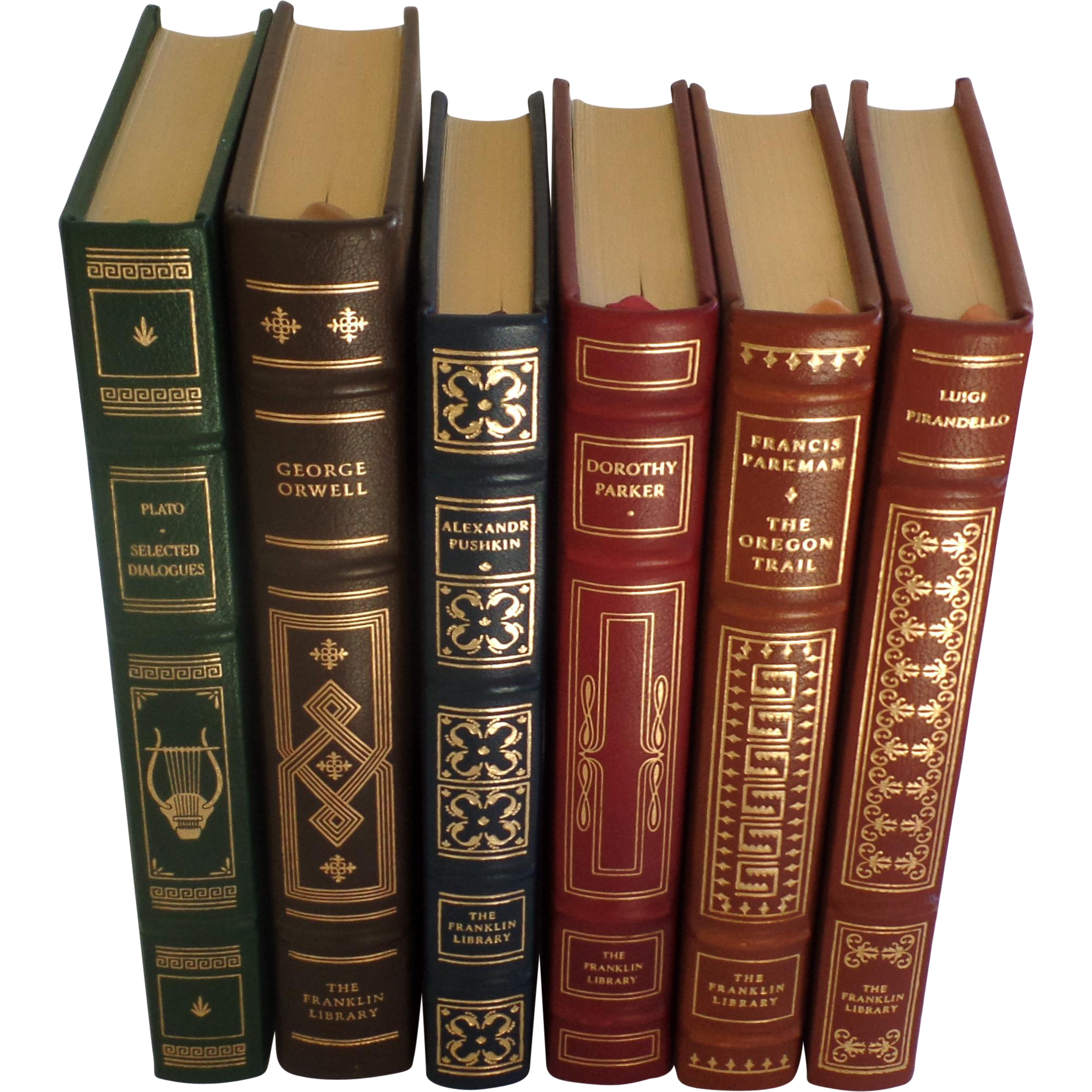 Vintage books png. Six leather gilt tooled