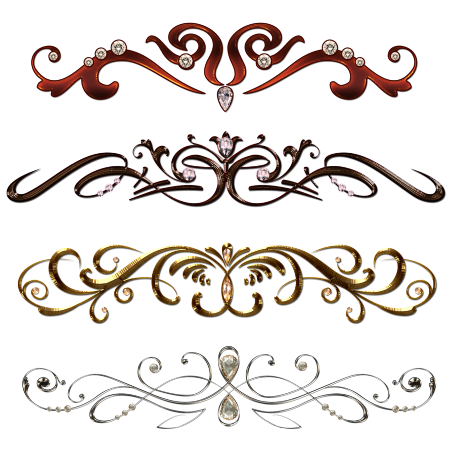 Vintage borders png. With gems by lyotta