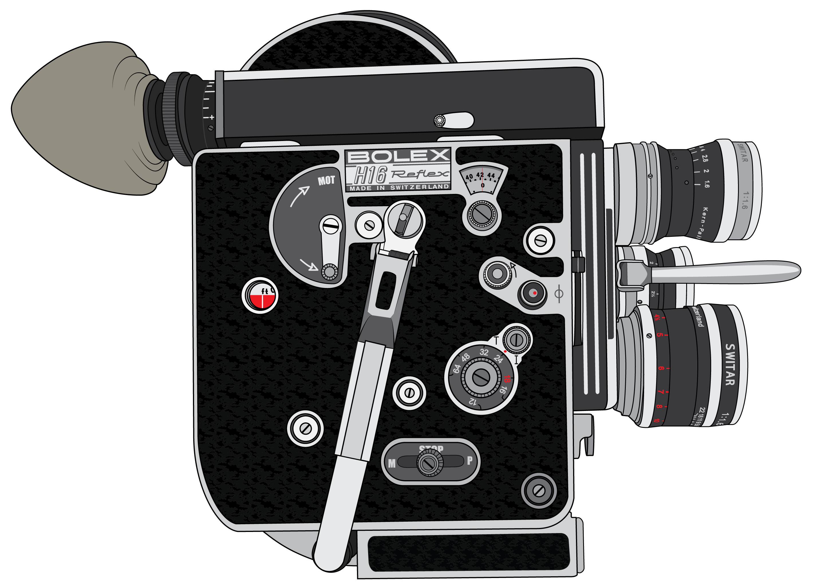 Vintage camera vector png. Bolex mm film architecture