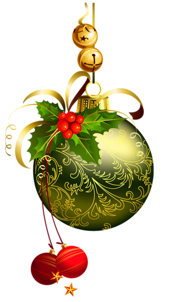 Vintage christmas ornaments png no background. Green transparent ball with