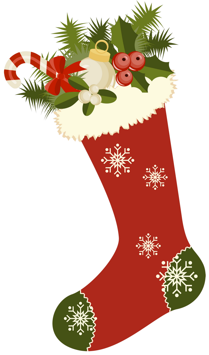 Vintage christmas png. Red retro stocking picture