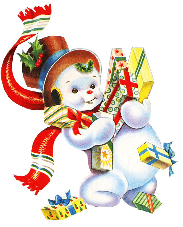 Vintage christmas presents png. Snowman with cartoon x