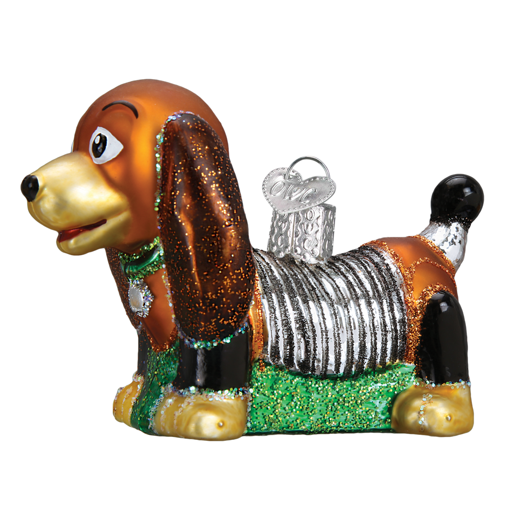 Vintage christmas presents png. Toy coil dog ornament