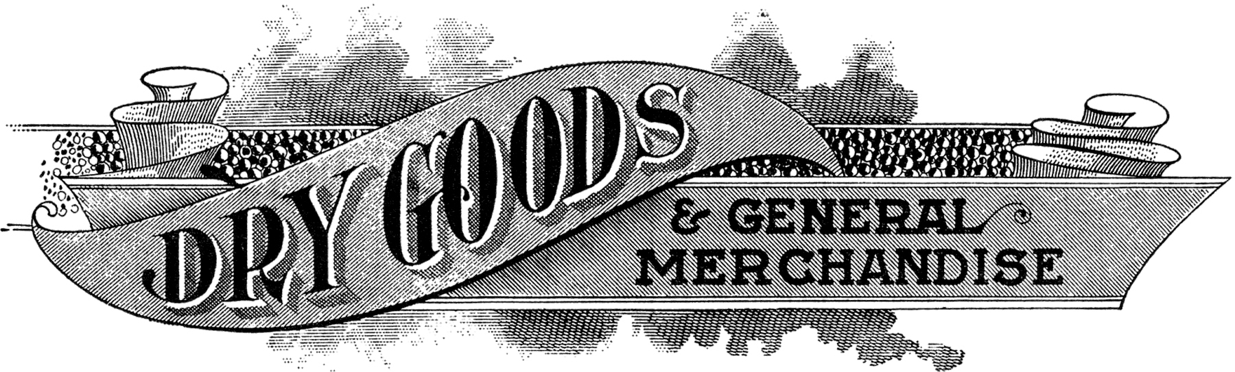 Vintage clipart sign. Antique dry goods trade