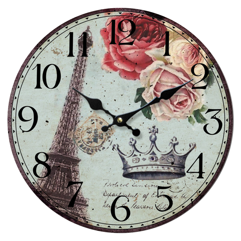 Vintage clock png. Eiffla tower roses by
