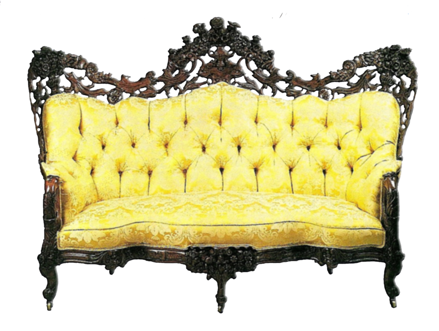 Vintage couch png. Yellow antique sofa by